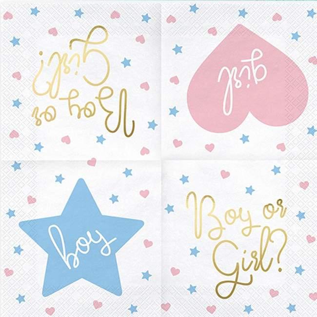 """Χαρτοπετσέτες """"Boy or Girl"""" για Baby Shower (20 τεμ)"""