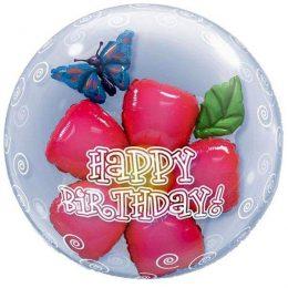 """Μπαλόνι λουλούδι """"Happy Birthday"""" bubble"""