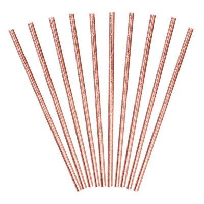 Καλαμάκια χάρτινα ροζ χρυσά (10 τεμ)