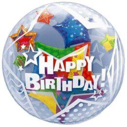 """Μπαλόνι αστέρια """"Happy Birthday"""" bubble 61 εκ"""