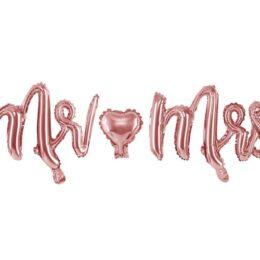 Μπαλόνι ροζ χρυσό Mr & Mrs 125 εκ