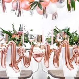 Μπαλόνι ροζ χρυσό Mrs & Mrs