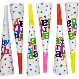 Χάρτινες καραμούζες Happy Birthday αστεράκια (6 τεμ)