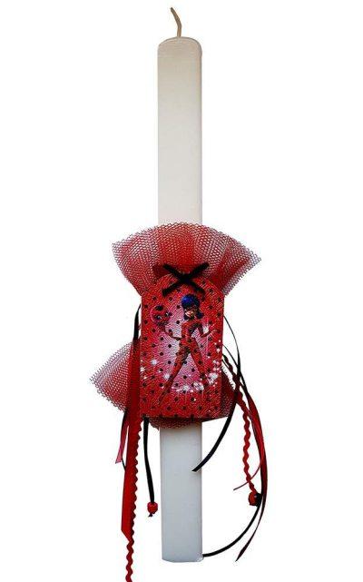 Χειροποίητη Πασχαλινή Λαμπάδα miraculous Ladybug