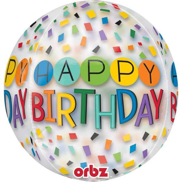Μπαλόνι Happy Birthday Rainbow κομφετί ORBZ 40 εκ