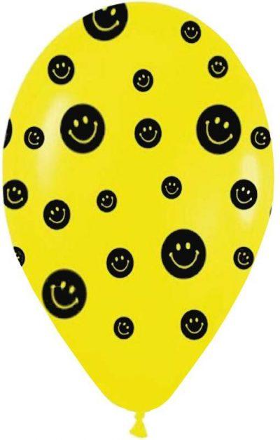 """12"""" Μπαλόνι τυπωμένο Κίτρινο φατσούλες"""