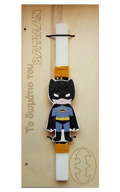 Χειροποίητη Πασχαλινή Λαμπάδα Batman – Πινακίδα Δωματίου