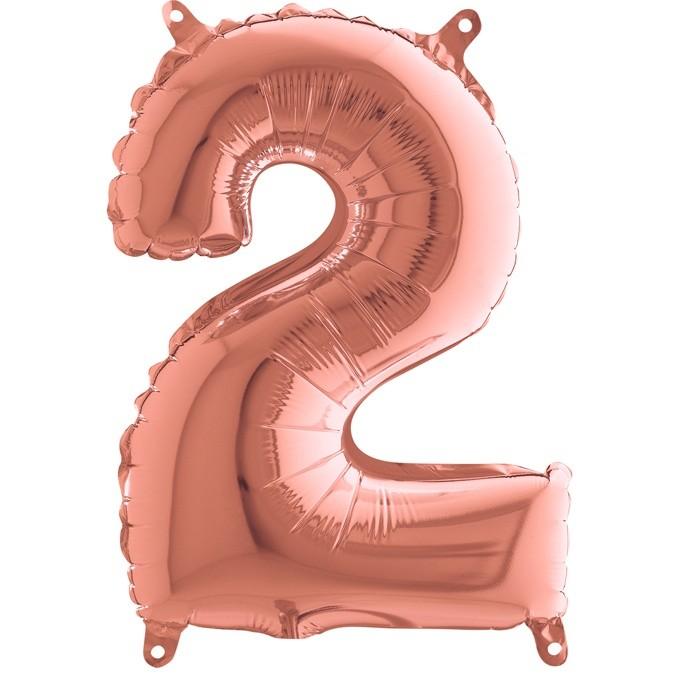 Μπαλόνι 36 εκ Rose Gold Αριθμός 2