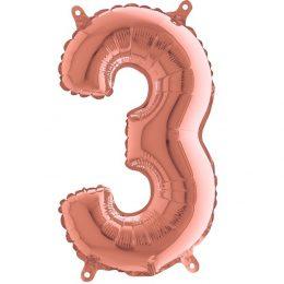 Μπαλόνι 36 εκ Rose Gold Αριθμός 3