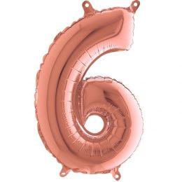 Μπαλόνι 36 εκ Rose Gold Αριθμός 6