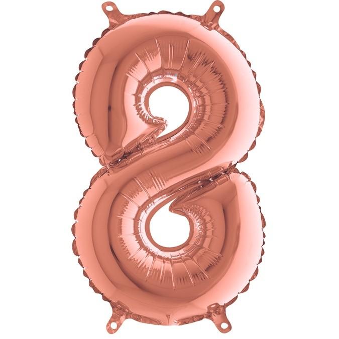 Μπαλόνι 36 εκ Rose Gold Αριθμός 8