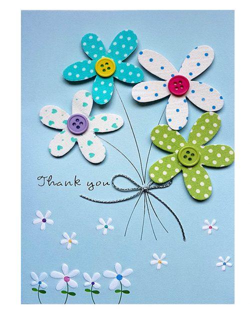 Ευχετήρια Κάρτα Thank you λουλούδια- κουμπιά