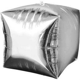 """Μπαλόνι ασημί 3D κύβος 18"""""""