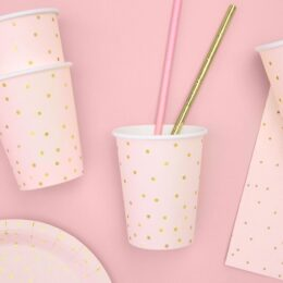 Ποτήρια πάρτυ ροζ με χρυσό πουά (6 τεμ)