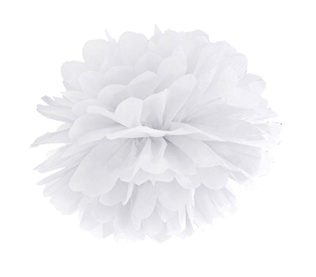 Λευκό χάρτινο διακοσμητικό pom pom