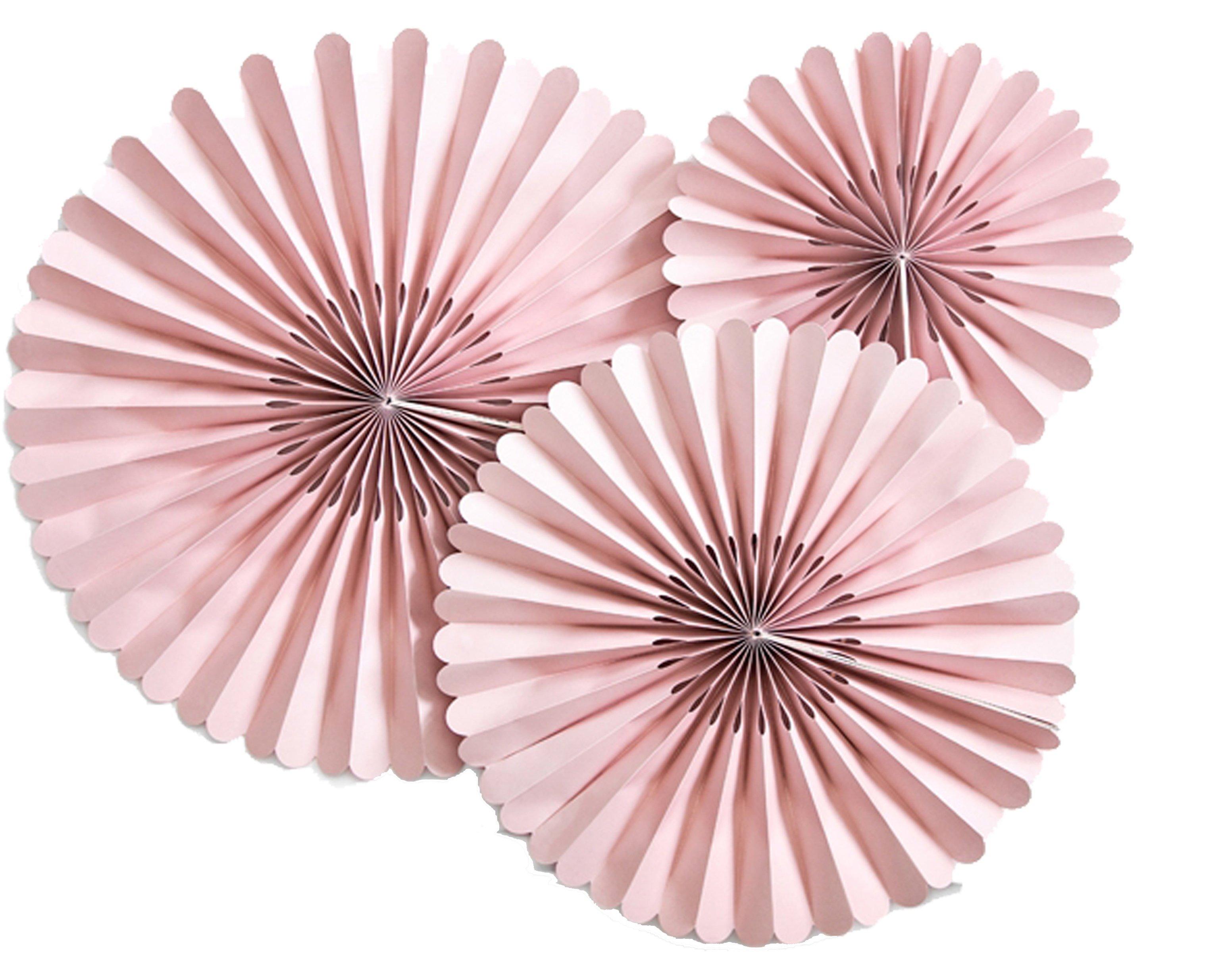 Σετ χάρτινες βεντάλιες Dusty ροζέ (3 τεμ)