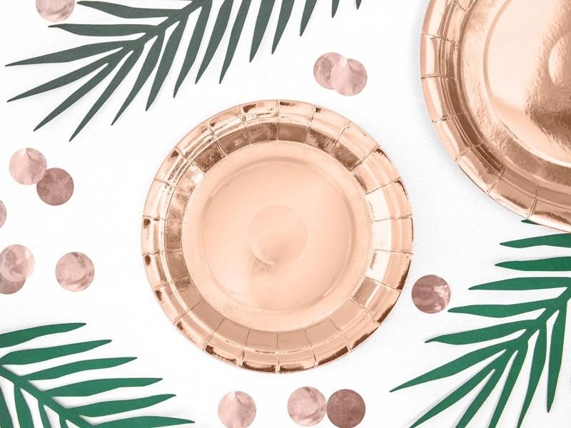 Πιάτα πάρτυ μικρά ροζ χρυσό (6 τεμ)