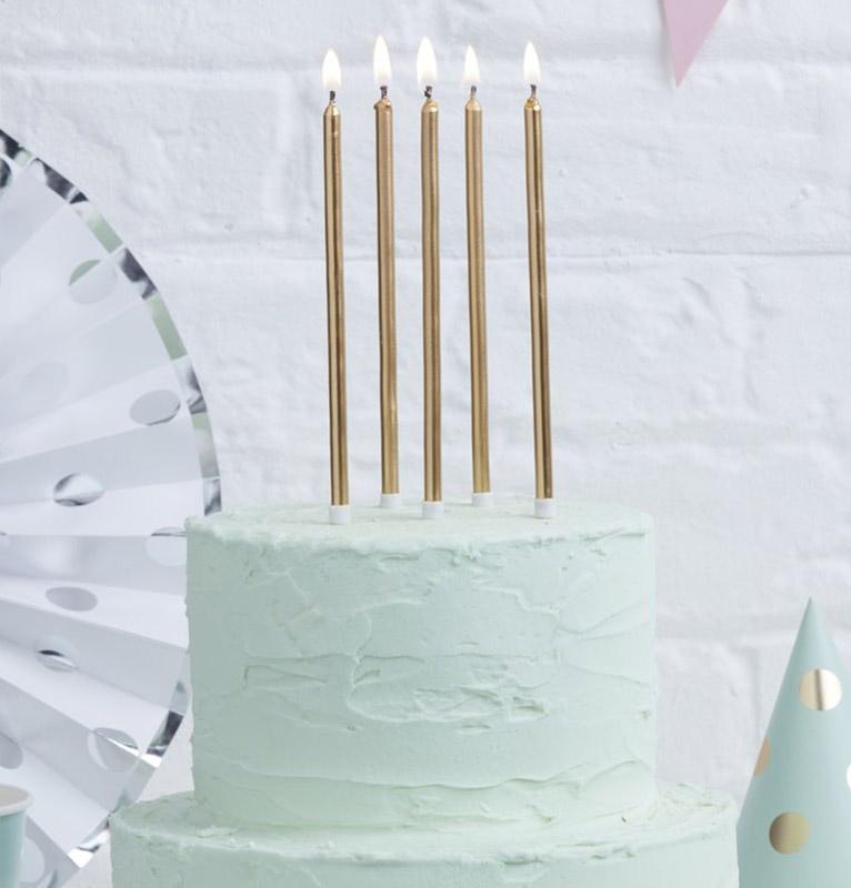 Ψηλά Κεράκια τούρτας Χρυσά (12 τεμ)