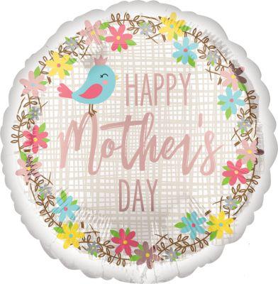 Μπαλόνι Mother's Day πουλάκι & λουλούδια 45 εκ
