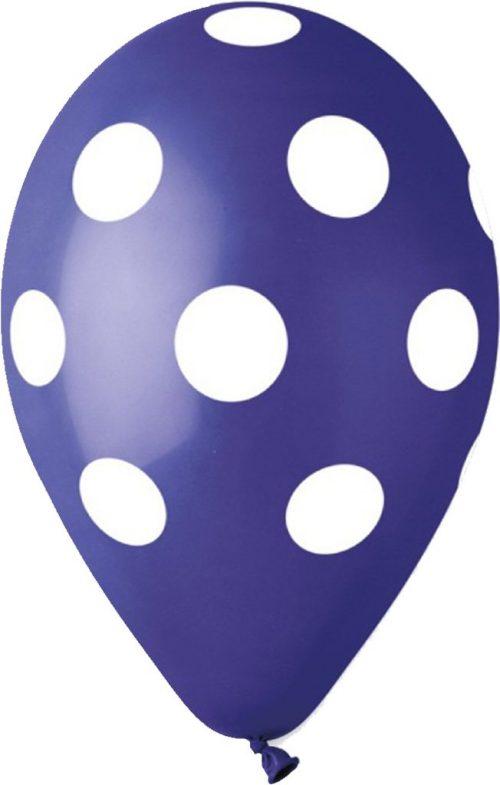 """12"""" Μπαλόνι μπλε με λευκό πουά"""