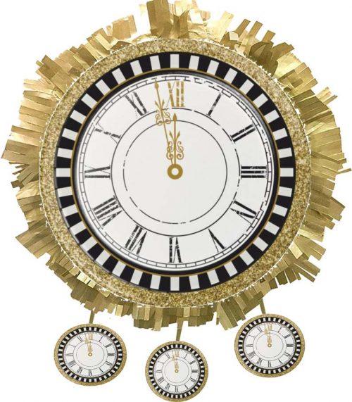 """Χειροποίητη μεγάλη Πινιάτα Ρολόι """"Ρεβεγιόν Πρωτοχρονιάς"""""""