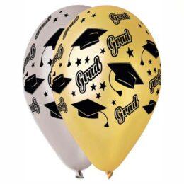 """12"""" Μπαλόνι Αποφοίτηση 'Grad' χρυσό & ασημί"""