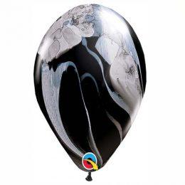 """12"""" Μπαλόνι μαύρο -άσπρο μάρμαρο"""