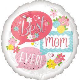 Μπαλόνι Best Mom Ever λουλούδια 45 εκ