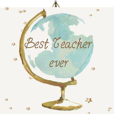 Ξύλινο καδράκι Best teacher ever Υδρόγειος σφαίρα