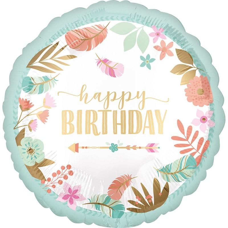 Μπαλόνι Boho Girl Happy Birthday 45 εκ