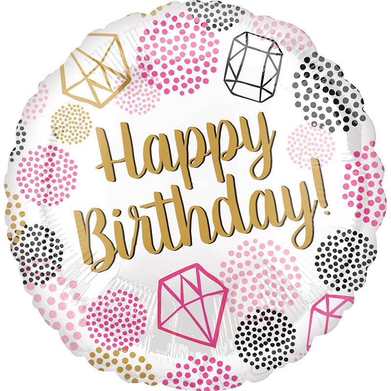 Μπαλόνι Διαμάντια Happy Birthday 45 εκ