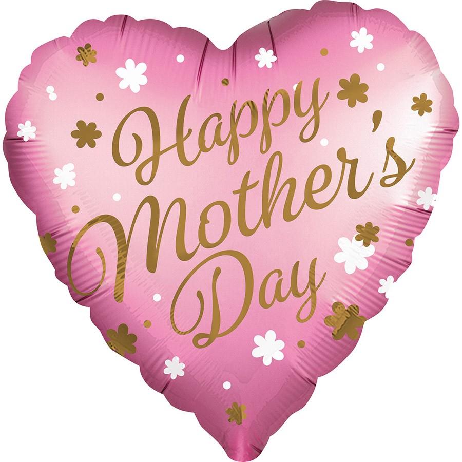 """Μπαλόνι Καρδιά σατέν """"Happy Mothers Day"""" 71 εκ"""