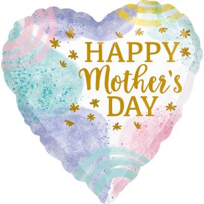 """Μπαλόνι Καρδιά παστέλ """"Happy Mothers Day"""" 45 εκ"""