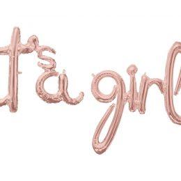 Μπαλόνι ροζ χρυσό 'Its a girl' (2 τεμ)