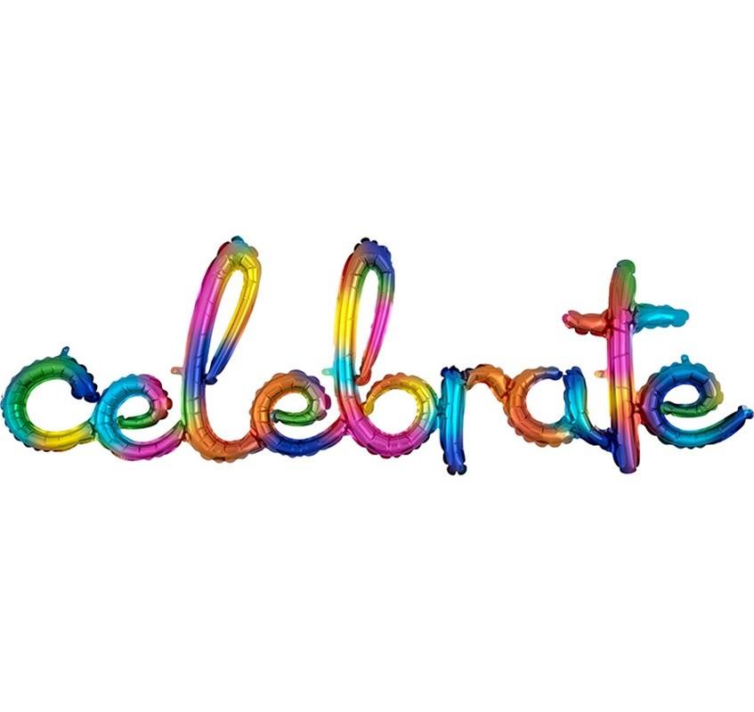 """Μπαλόνι """"Celebrate"""" ουράνιο τόξο 149 εκ"""