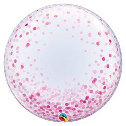 Μπαλόνι bubble με Ροζ κομφετί 61 εκ