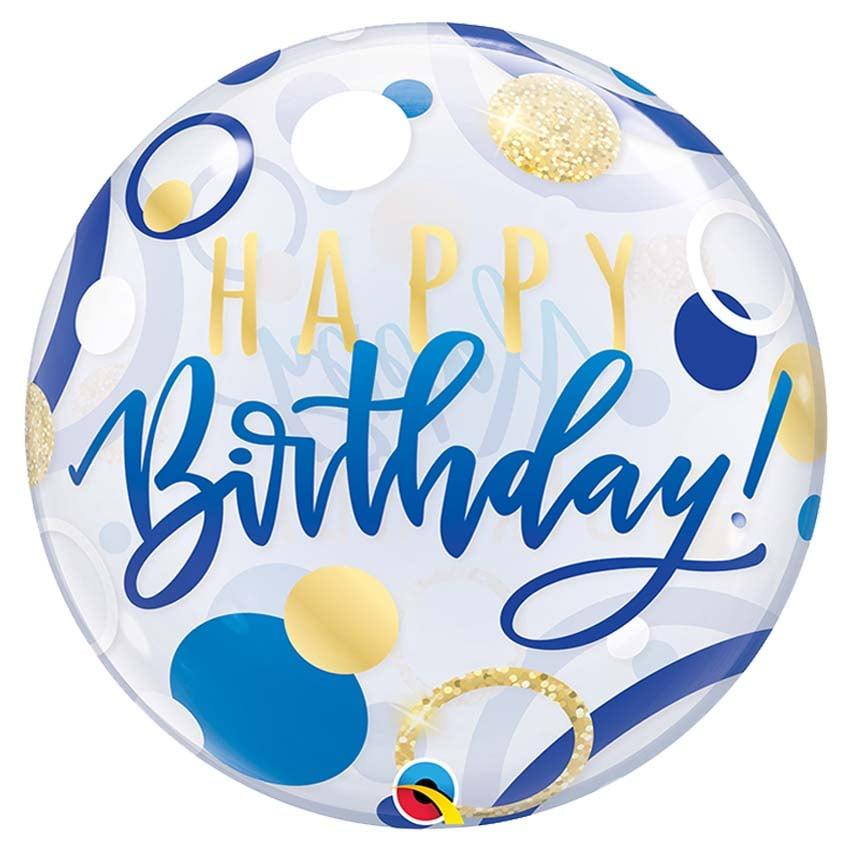 Μπαλόνι μπλε & χρυσό Happy Birthday bubble 56 εκ