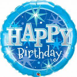 """Μπαλόνι """"Happy Birthday"""" μπλε sparkles 91 εκ"""