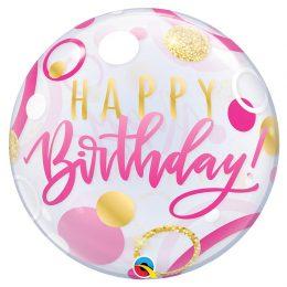 Μπαλόνι ροζ & χρυσό Happy Birthday bubble 56 εκ