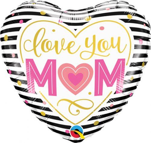 """Μπαλόνι Καρδιά """"Love you Mom"""" ριγέ 46 εκ"""