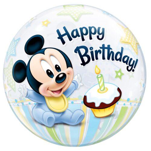 Μπαλόνι Mickey Mouse 1st Birthday bubble 56 εκ