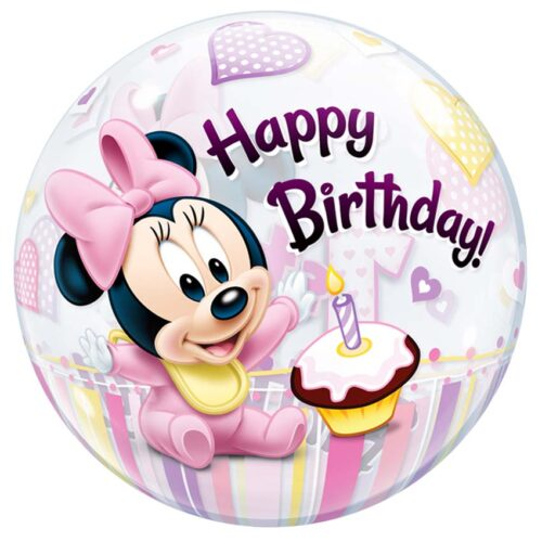 Μπαλόνι Minnie Mouse 1st Birthday bubble 56 εκ