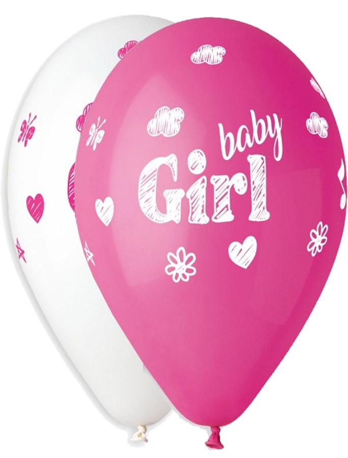 """12"""" Μπαλόνι Baby Girl σκίτσο"""