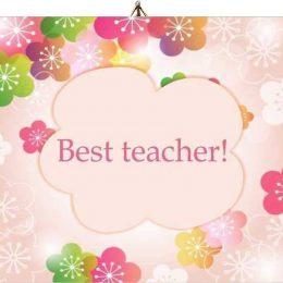 Ξύλινο καδράκι Best teacher λουλούδια