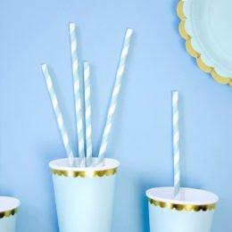 Καλαμάκια χάρτινα ριγέ γαλάζια άσπρα (10 τεμ)