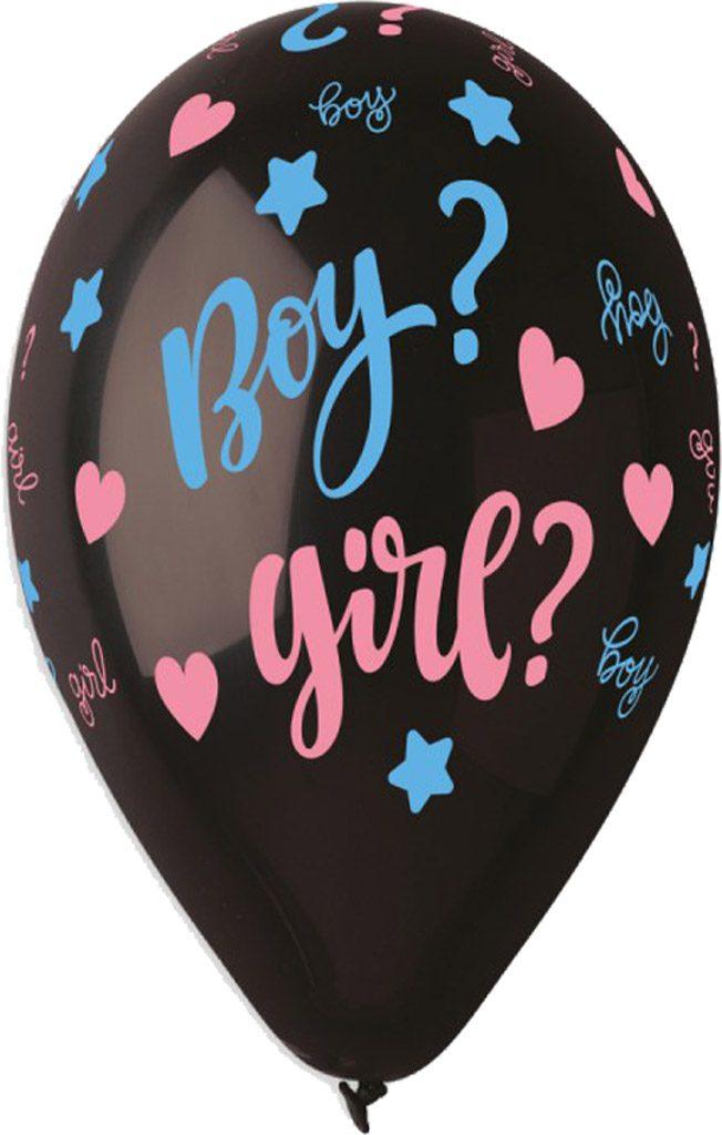"""13"""" Μπαλόνι τυπωμένο Μαύρο """"Boy or Girl"""""""