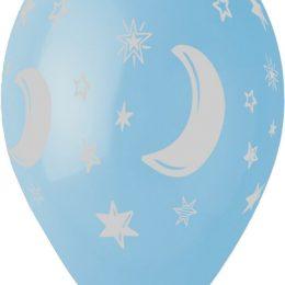 12″ Μπαλόνι Μισοφέγγαρο & αστέρια γαλάζιο