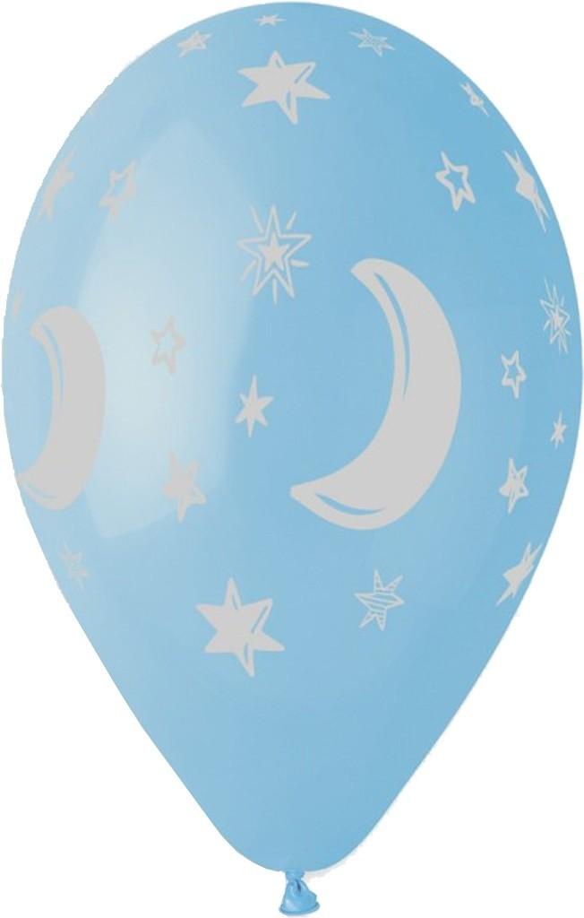 """12"""" Μπαλόνι Μισοφέγγαρο & αστέρια γαλάζιο"""
