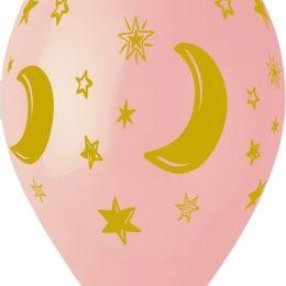 12″ Μπαλόνι Μισοφέγγαρο & αστέρια ροζ