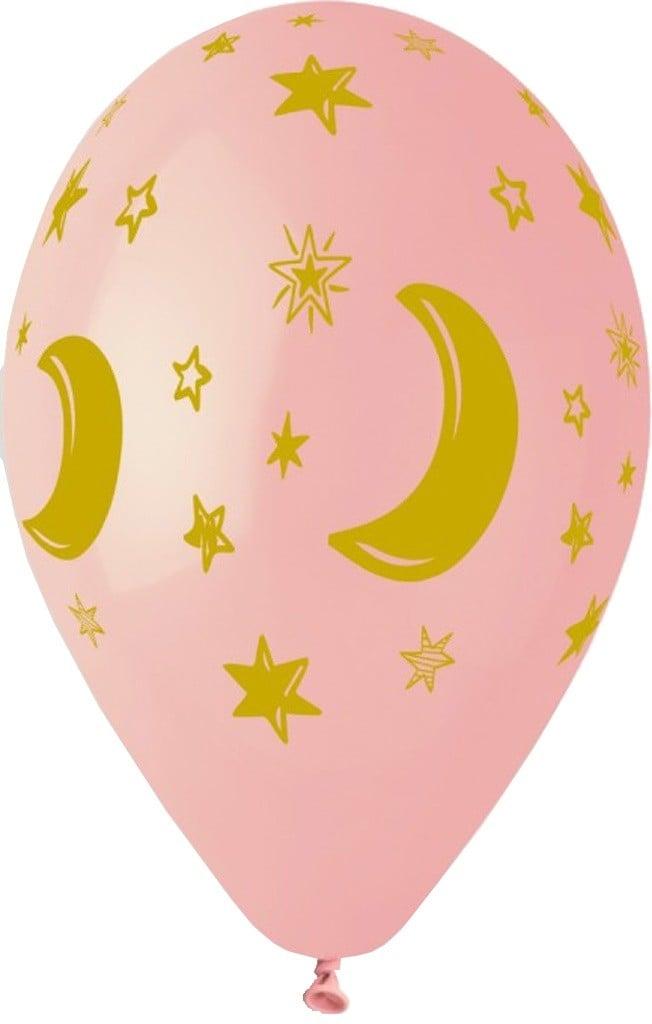 """12"""" Μπαλόνι Μισοφέγγαρο & αστέρια ροζ"""